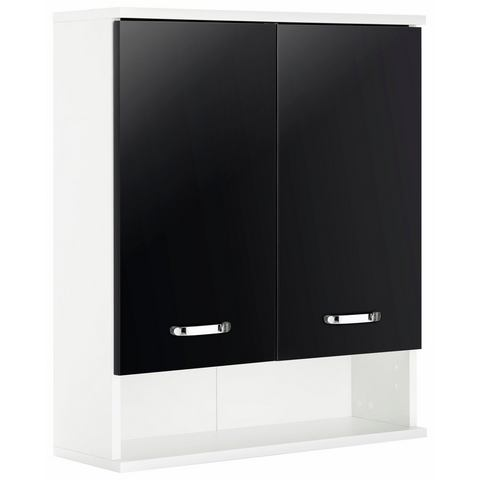 Hangkast Lugano glanzend zwart-parelwit 2-deurs, Giessbach