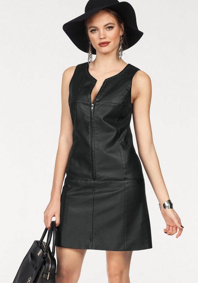 Melrose imitatieleren jurk zwart