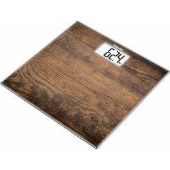beurer glazen weegschaal gs 203, plateau fotomotief in hout-look bruin