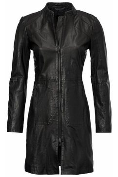 leren mantel zwart