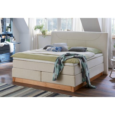 HOME AFFAIRE boxspring Belle, in 2 breedten, incl. topmatras, houten onderstel en chique stiksels