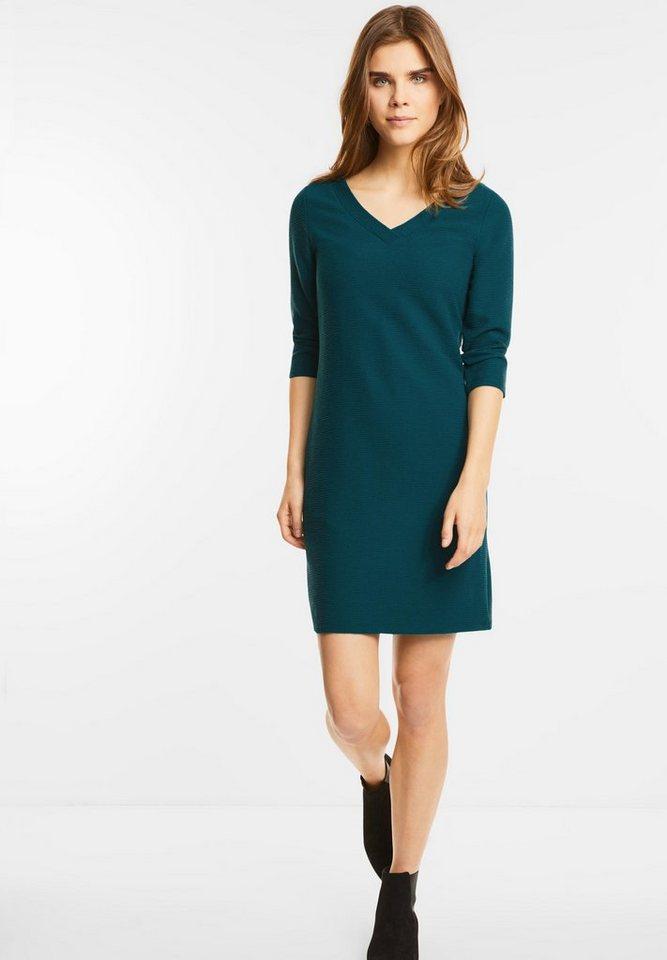 Street One jersey jurk met V-hals Phila groen