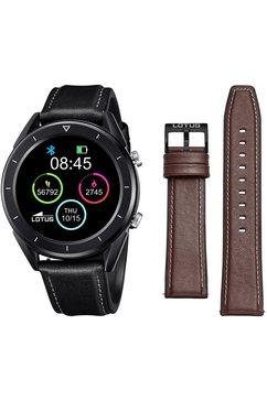 lotus smartwatch smartime, 50009-1 (3-delig, met wisselband van echt leer en silicone en oplaadkabel) zwart