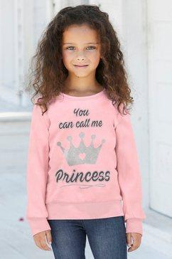 kidsworld shirt met lange mouwen prinses met schattige glitterprint roze