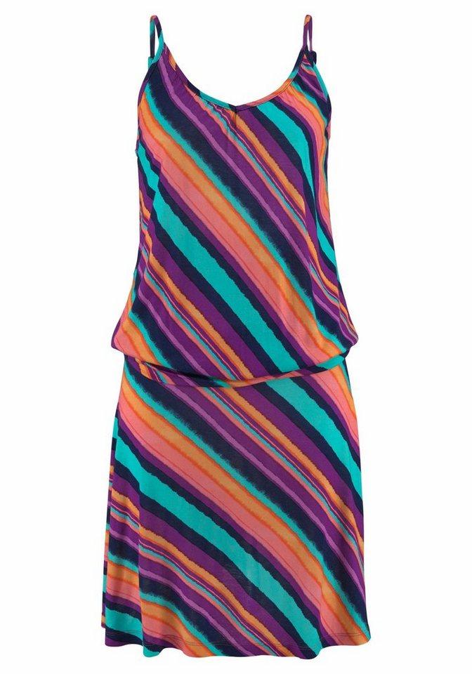 Beachtime strandjurk met aangerimpelde zijkanten multicolor
