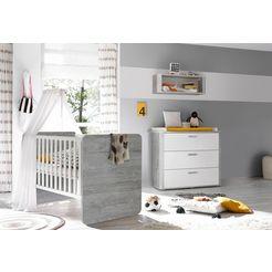 voordeelset »aarhus«, ledikantje en commode, 2-dlg., in vintage-grijs-mat-wit lak grijs