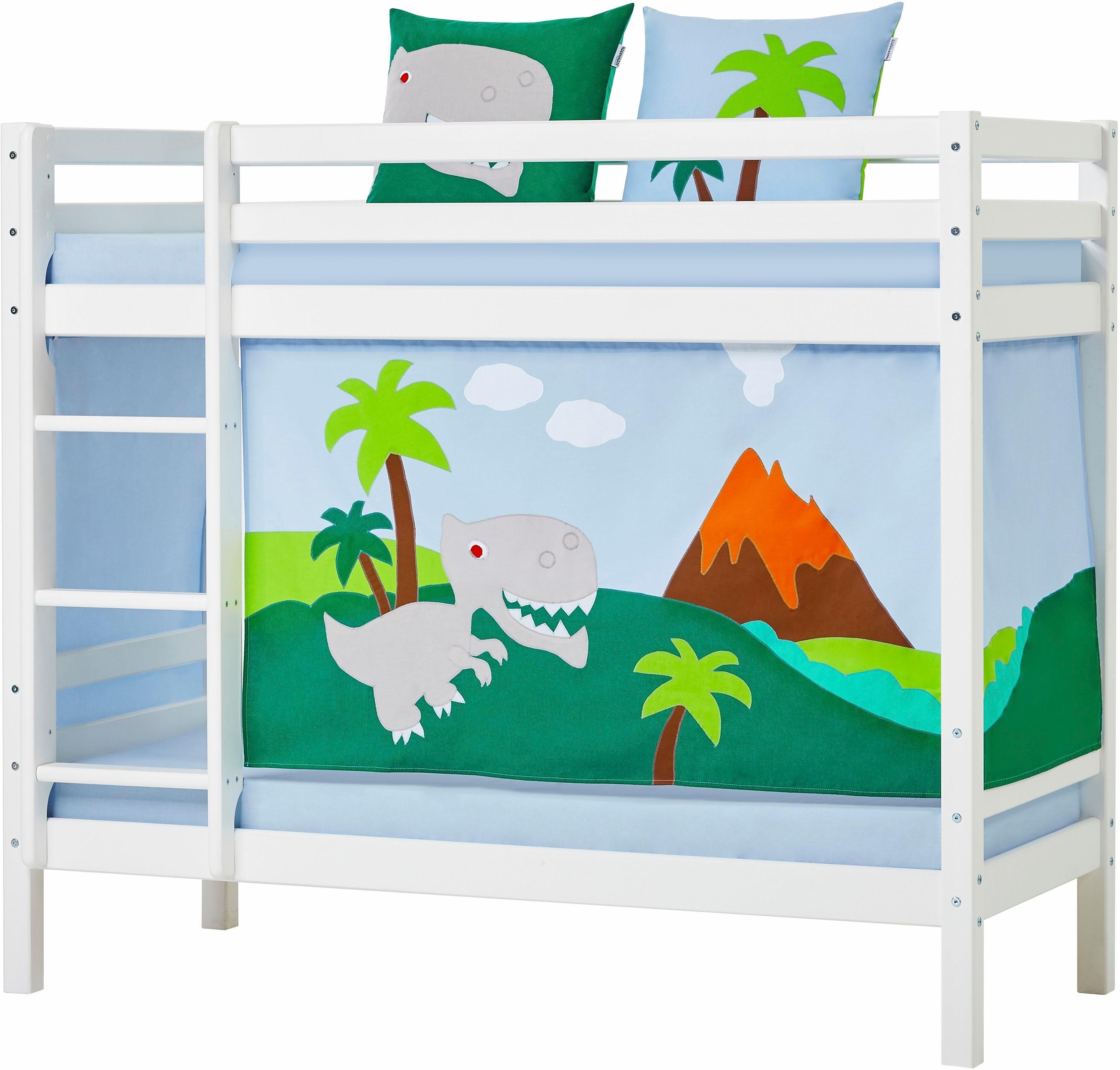 hoppekids stapelbed dinosaurus incl gordijnset matrassen en lattenrollen online shop otto. Black Bedroom Furniture Sets. Home Design Ideas