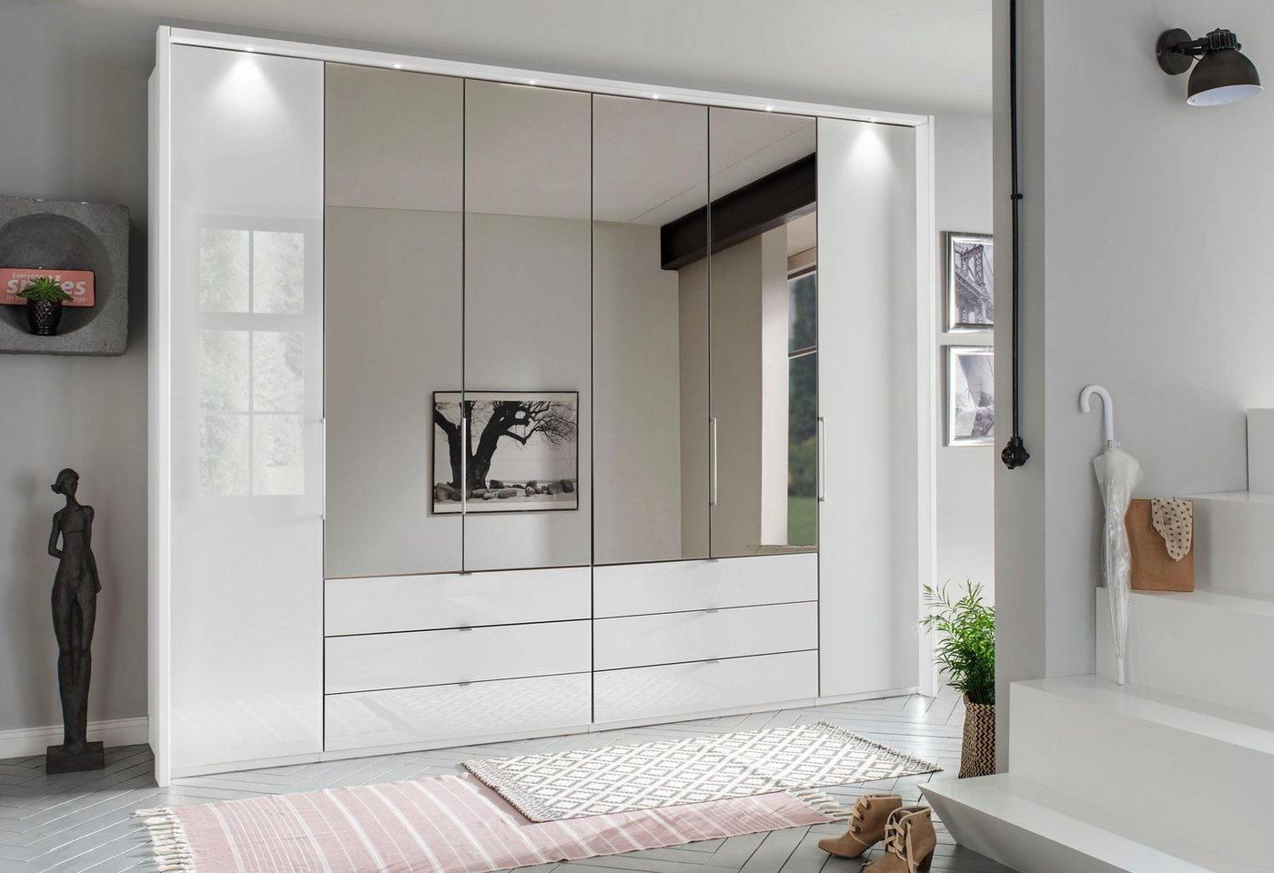 WIEMANN garderobekast, met glas en spiegel, incl. laden