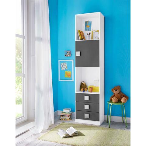 Boekenkast SKUNK 1 deur en 3 lades wit-grijs