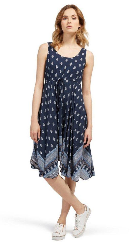 Tom Tailor jurk jurk met bindkoordje en motief blauw