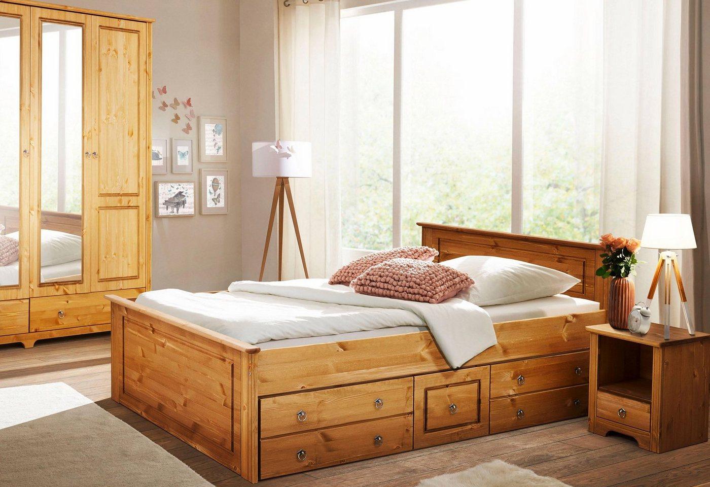 HOME AFFAIRE slaapkamerserie Hugo (3-dlg.), ledikant 140 cm, 2-deurs garderobekast en nachtkastje