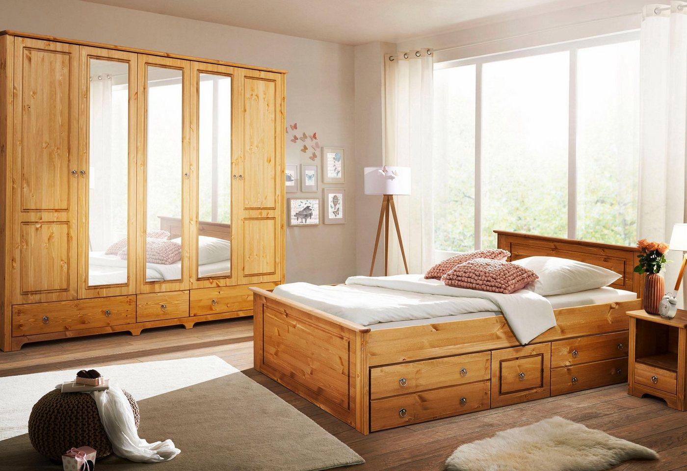 HOME AFFAIRE 4-dlg. slaapkamerserie Hugo, ledikant 180 cm, 5-deurs garderobekast en 2 nachtkastjes
