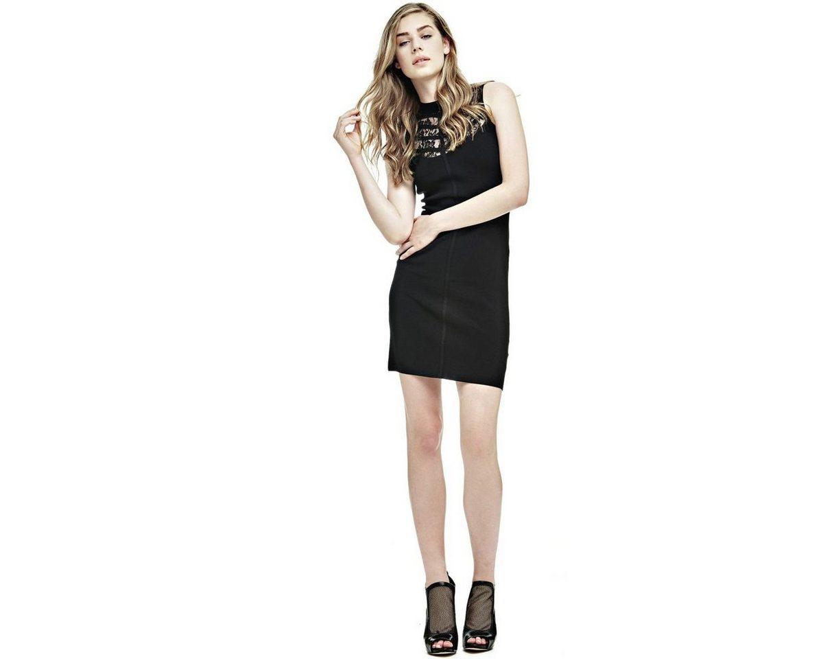 Guess jurk met hals met kanten inzet zwart