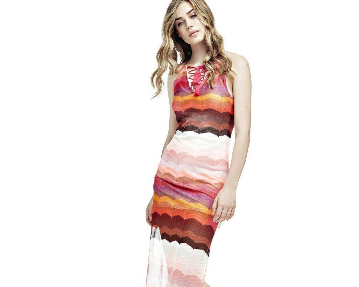 Guess meerkleurige jurk met halskoord roze
