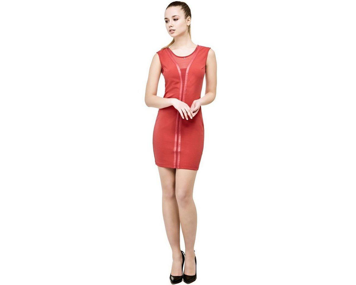 Guess jurk met inzetten in gecoate look rood