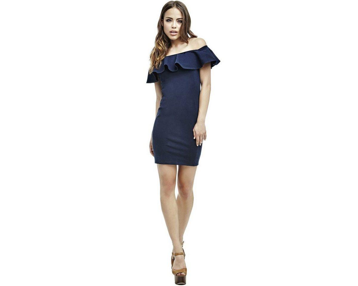 Guess jurk met boothals met volant blauw
