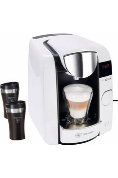 BOSCH Tassimo JOY multi-drankensysteem TAS4504, 1,4 liter, 1300 W, pure white/antraciet, incl. 2 travel-mugs t.w.v. € 20,- VAP