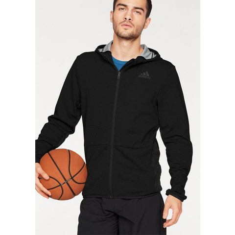Adidas Workout Full-Zip Climacool Heren Trainingshoodie (zwart-grijs) S