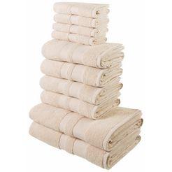 handdoekenset, my home, »ada«, met afgezet randdessin beige