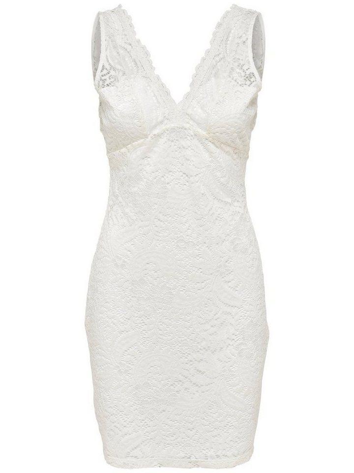 ONLY Mouwloze kanten Korte jurk wit
