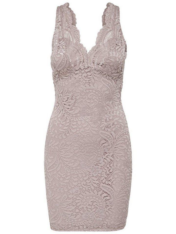 ONLY Mouwloze kanten Korte jurk grijs