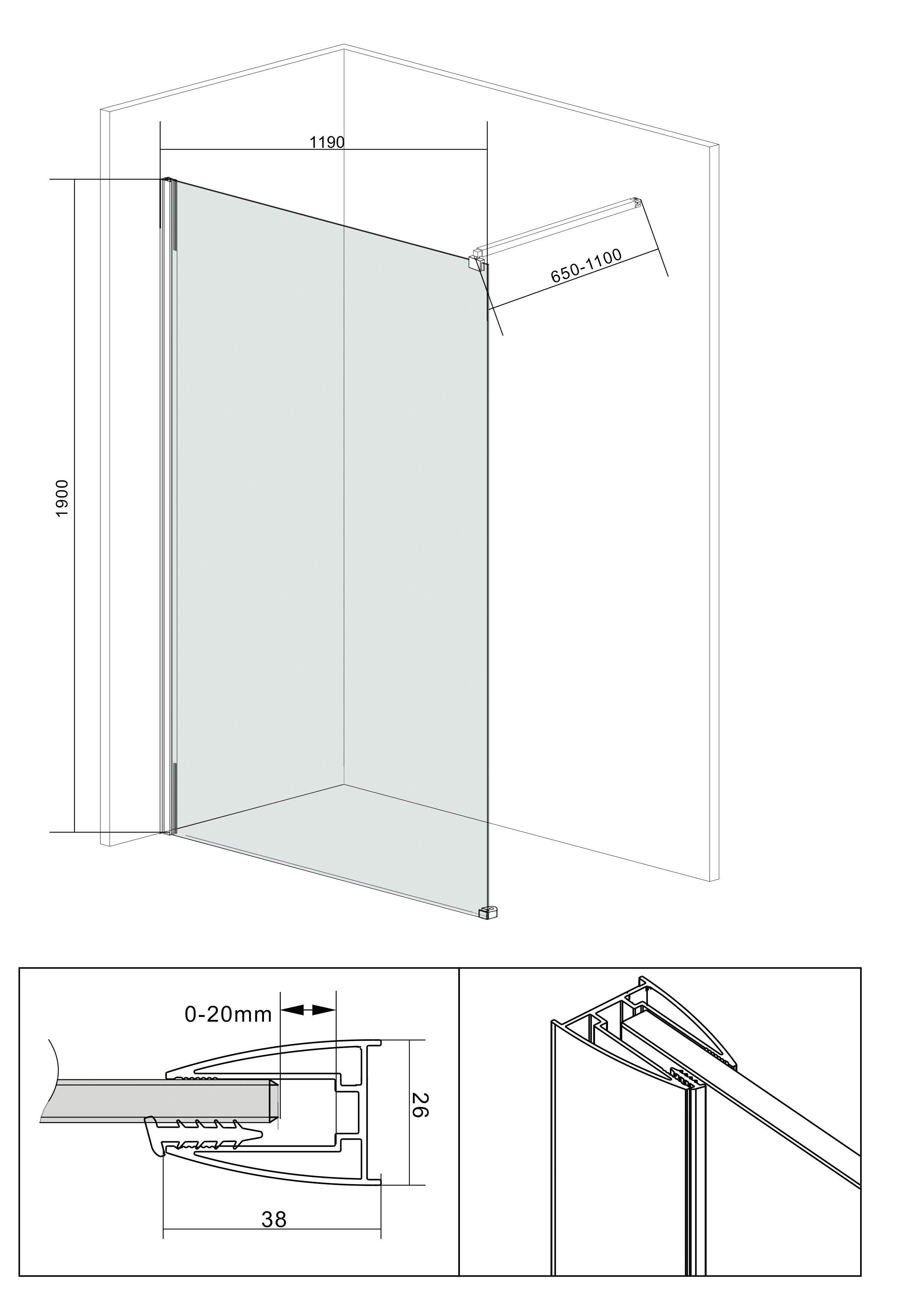 Zeer Walk-in douche »Doucheafscheiding«, Breedte 120 cm in de online YL51