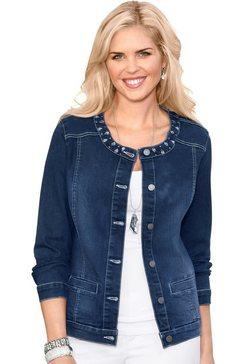 classic basics jeansjack met expressieve glinstersteentjes blauw