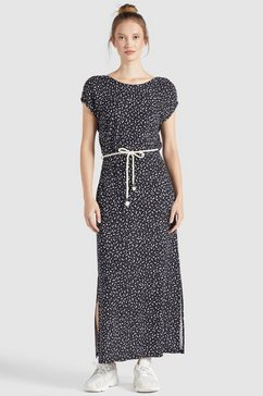 khujo maxi-jurk doreen shirtjurk met koord in de taille zwart