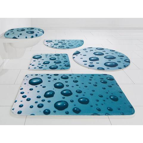 Badmat, set voor hangend toilet, MY HOME SELECTION, »waterdruppels«, hoogte 14 mm, memory-schuim