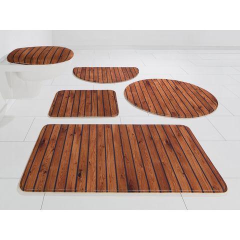 Badmat, set voor hangend toilet, MY HOME SELECTION, »hout-look«, hoogte 14 mm, memory-schuim