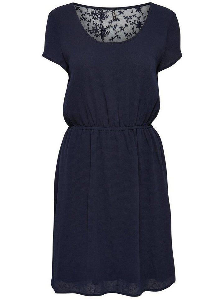 ONLY kanten jurk met korte mouwen blauw