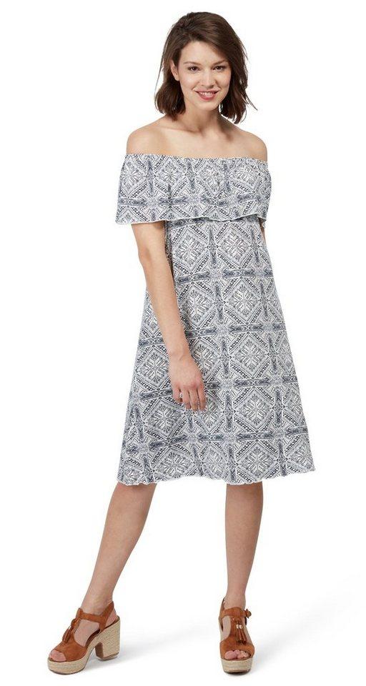 Tom Tailor jurk gemustertes Kleid im Carmen-Stil wit