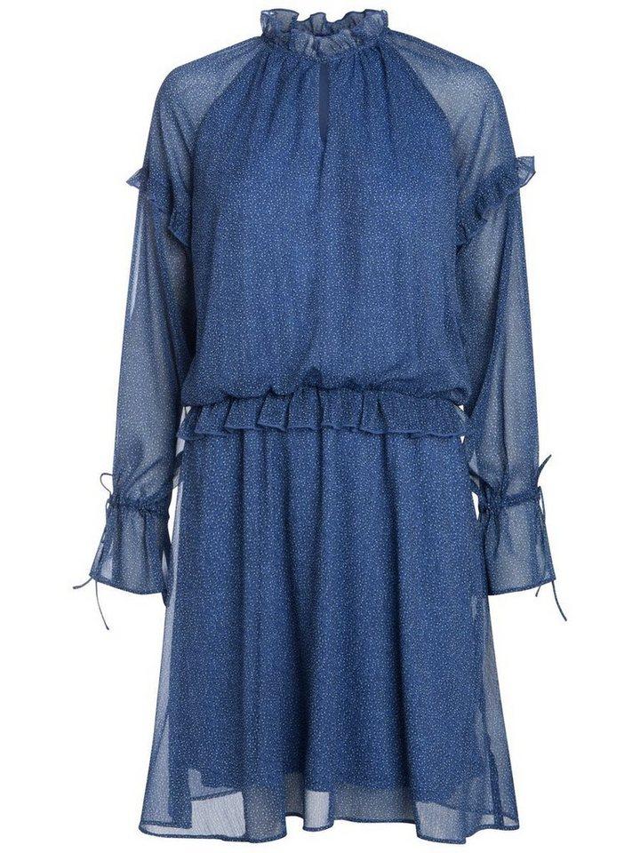 Pieces Lange mouw ruche jurk blauw