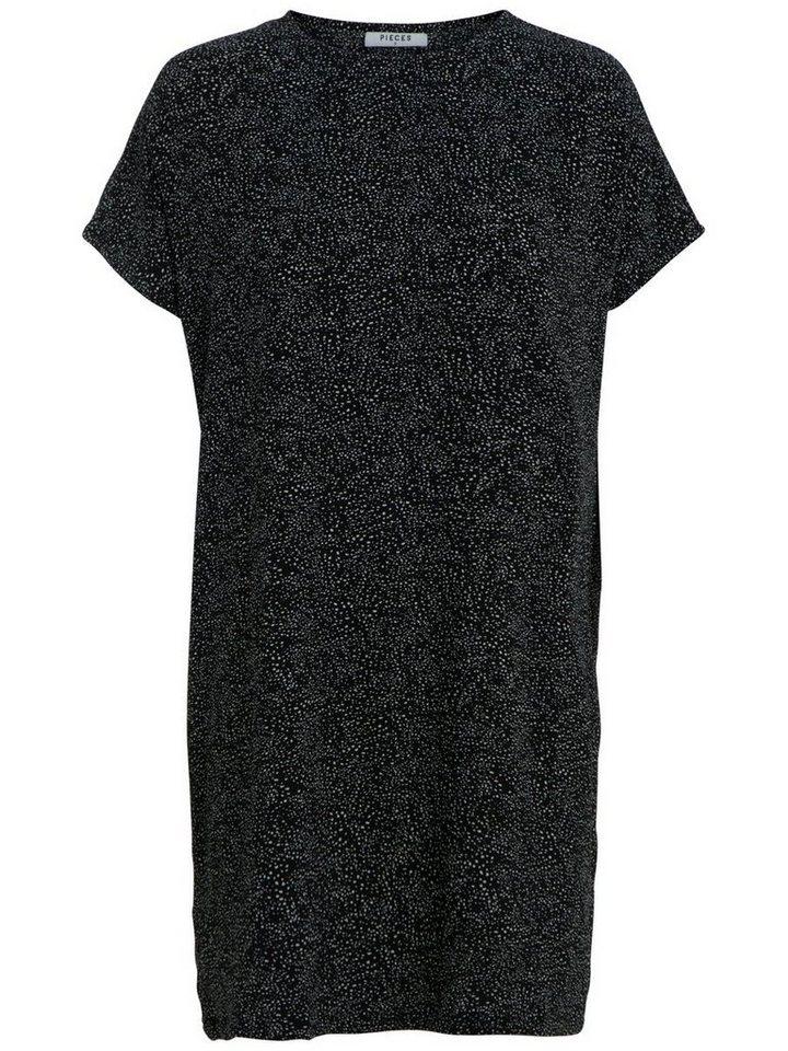 Pieces Gestippelde jurk zwart