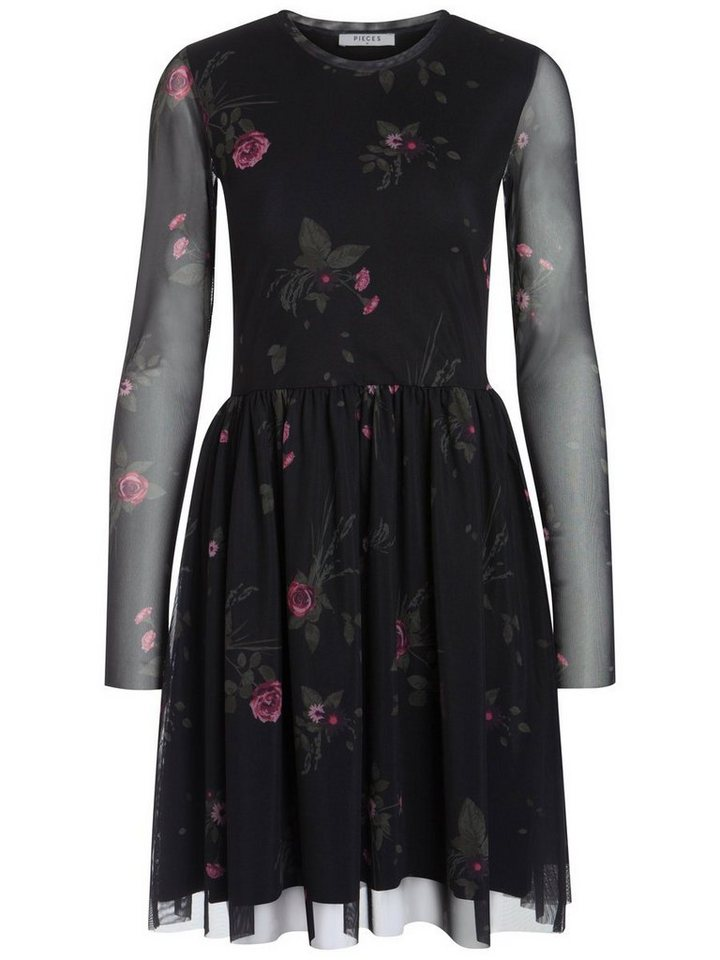 Pieces Lange mouw mesh jurk zwart