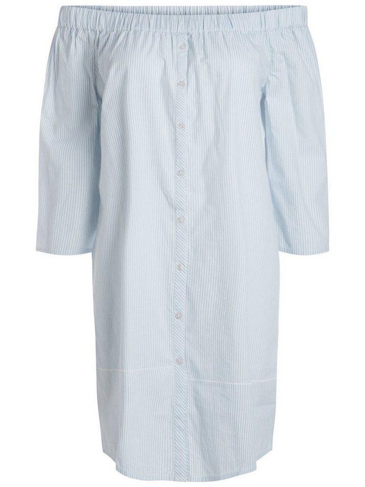 Pieces Off-shoulder jurk blauw