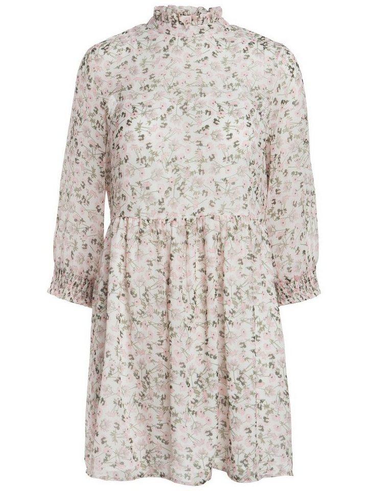 Pieces Gebloemde korte mouw jurk wit