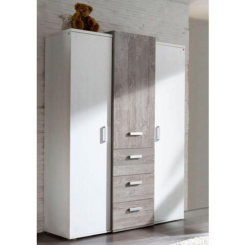Garderobekast passend bij de meubelserie Helsinki, in vintage-grijs/imitatie-pine wit
