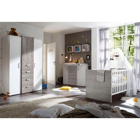 Kinderkamer Helsinki ledikantje + commode + garderobekast, in vintage-grijs/imitatie-pine wit