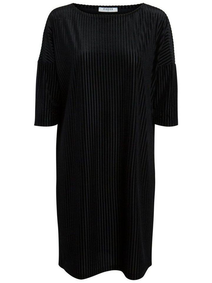 Pieces Fluwelen jurk zwart