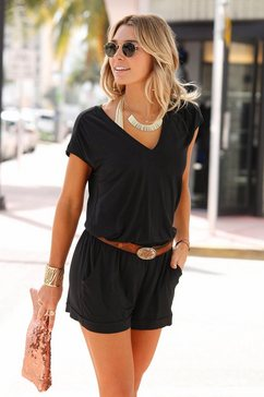 lascana jumpsuit met korte mouwen zwart