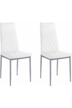 my home stoel brooke (set van 2 of 4) overtrekstof in imitatieleer (set) wit