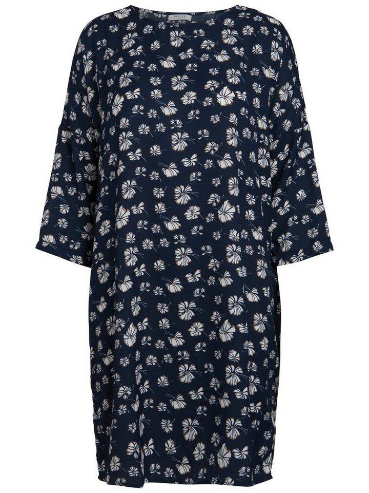 Pieces Bedrukte jurk blauw
