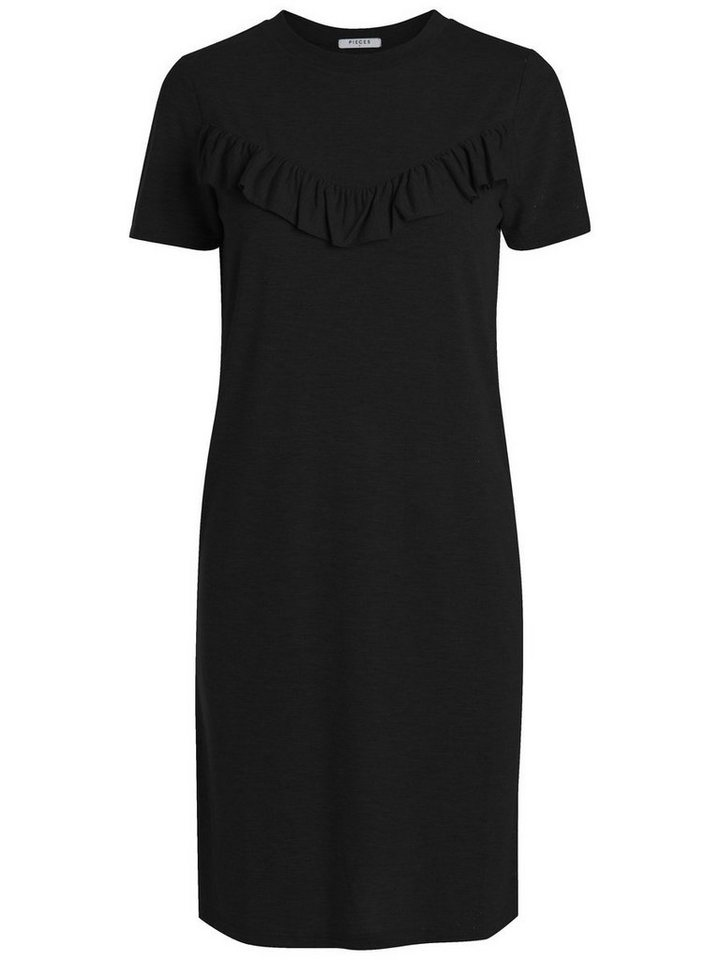Pieces Korte mouw franje jurk zwart