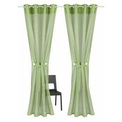 gordijn, home affaire collection, »willowa«, met zeilringen (set van 2) groen