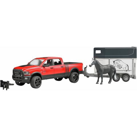 BRUDER® speelgoedauto met trailer, »RAM 2500 Power Wagon met paardentrailer en paard, 1:16, rood«