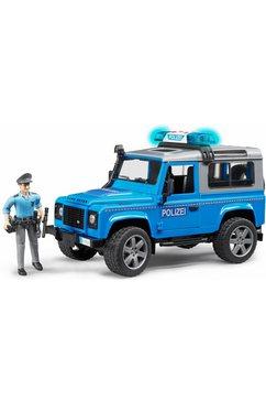 bruder speelgoed-politiewagen met licht en geluid, »land rover defender politiewagen, 1:16, blauw« blauw