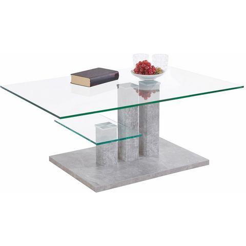 INOSIGN salontafel Bergamo met glasplaat, onderstel in drie aantrekkelijke kleuren