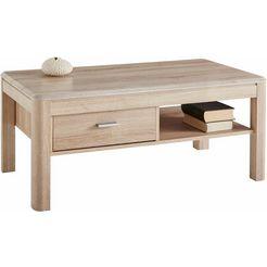 pro line salontafel met lade en plank bruin