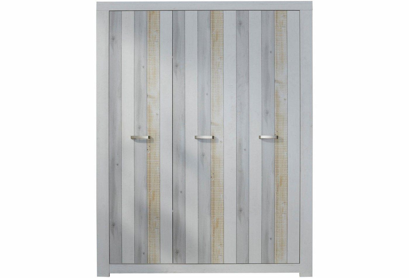 Garderobekast passend bij meubelserie Amrum, imitatie-pine, structuur, wit/houten planken-look